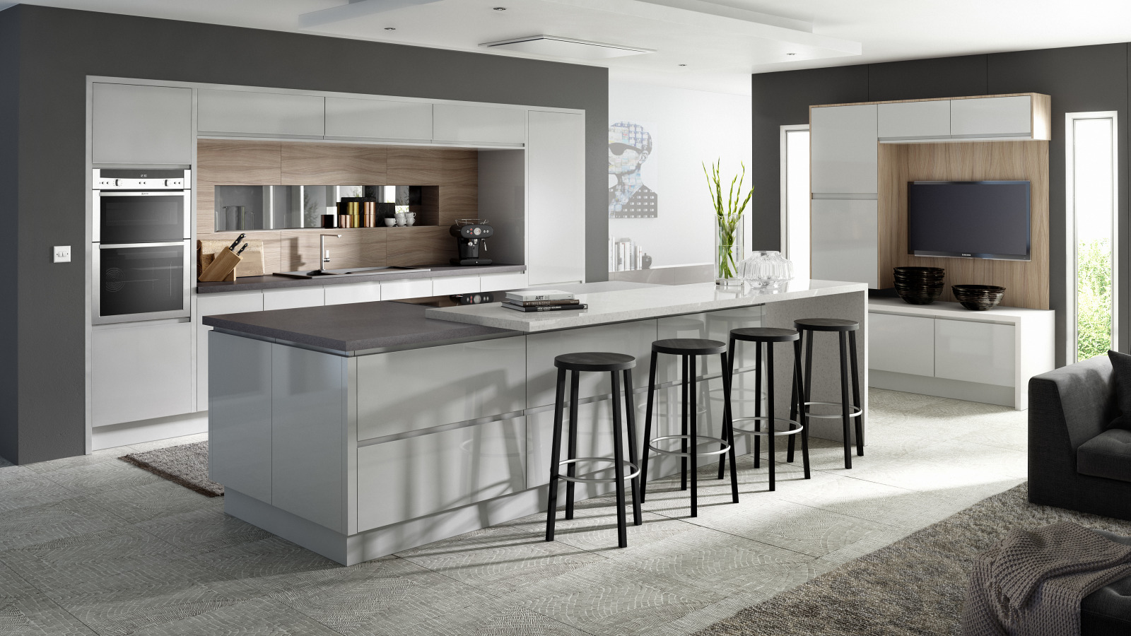 EA Kitchens Fusion Gloss Light Grey